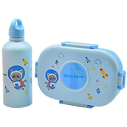Набор ланч-бокс с бутылкой поилкой UKC детский Space travel Голубой (R28952)