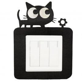 Декоративная накладка на выключатель Chilian RD900-BC (черная рамка с котенком)