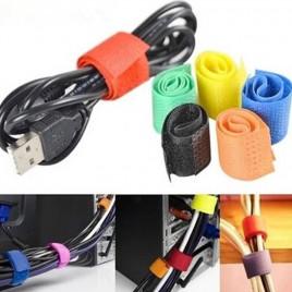 Набор из 6-ти браслетов с застежкой-липучкой для связывания проводов Hook&Loop BW-130 (разные цвета)