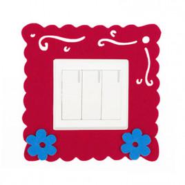 Декоративная накладка на выключатель Chilian RD900-BRF (бордовая рамка с синими цветами)